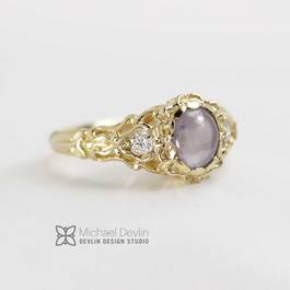 Star Sapphire and diamond ring created by Goldsmith Michael Devlin