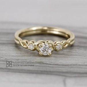 14k yellow gold diamond twist ring