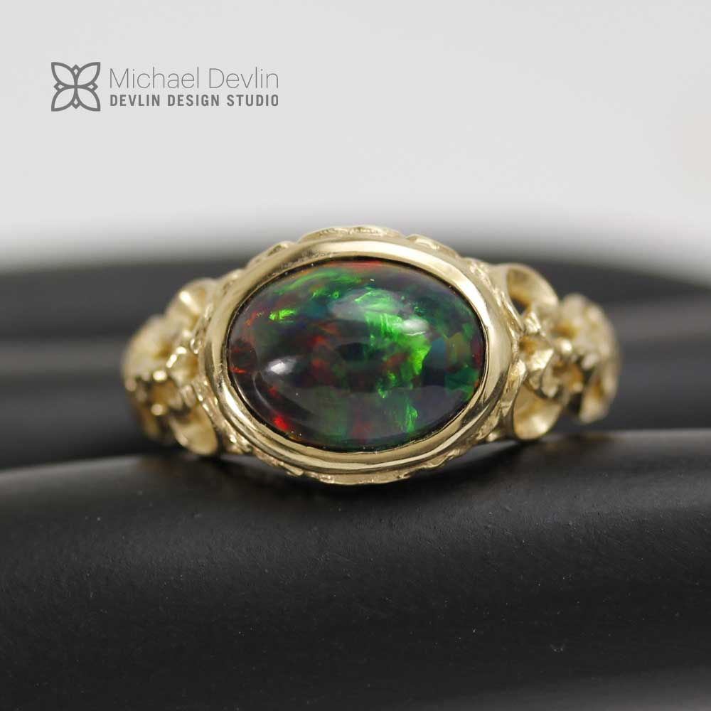 Black Welo Opal ring, 14ky ,diamonds, By Devlin Design Studio