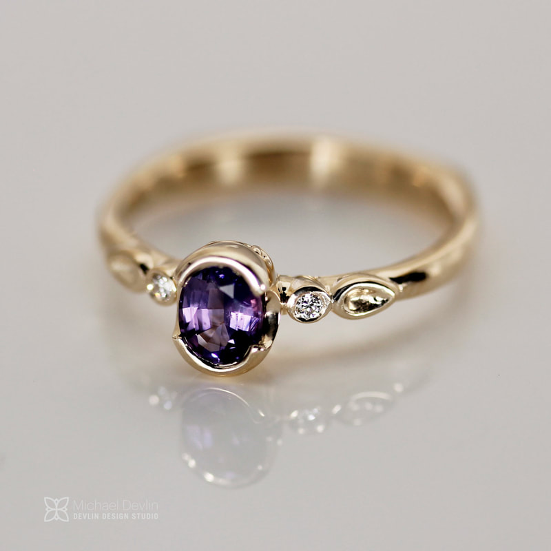 purple sapphire ring 14ky gold with diamond and leaf accentsy Goldsmith Michael Devlin