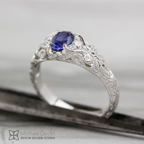 blue sapphire ring, 14k white gold, diamonds